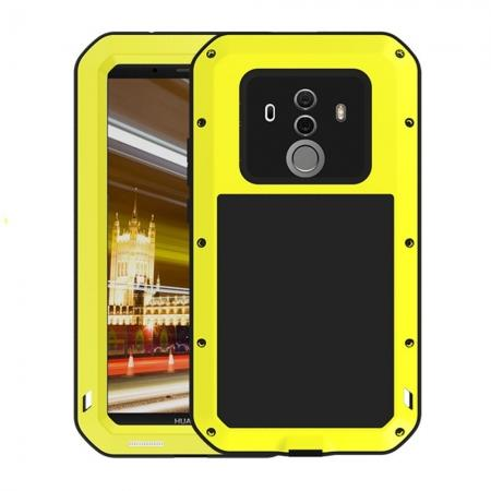 Shockproof Aluminum Metal Silicone Fully Body Protection Case for Huawei Mate 10 Pro - Yellow