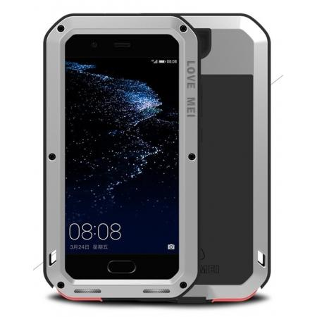 Shockproof Dustproof Powerfull Aluminum Metal with Tempered Glass Case Cover For Huawei P10 Plus - Silver