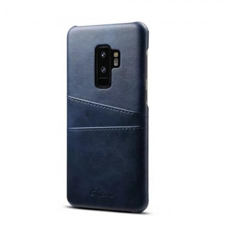 Wallet Style 2 Card Slots Leather Case Back Cover for Samsung Galaxy S9 S9 Plus - Blue