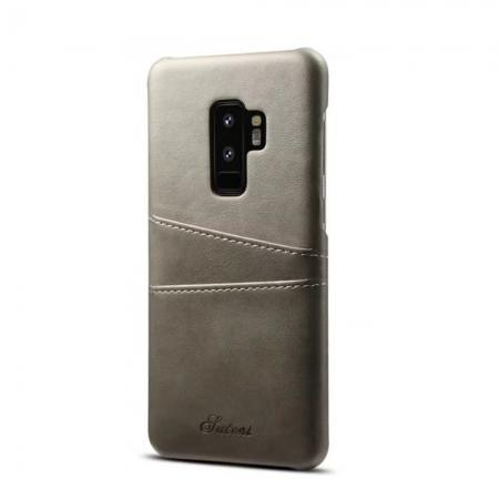 Wallet Style 2 Card Slots Leather Case Back Cover for Samsung Galaxy S9 S9 Plus - Gray