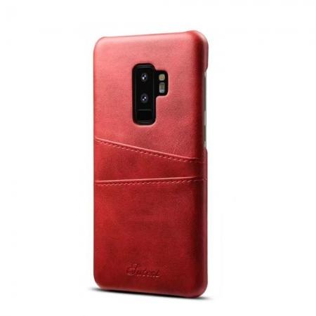Wallet Style 2 Card Slots Leather Case Back Cover for Samsung Galaxy S9 S9 Plus - Red