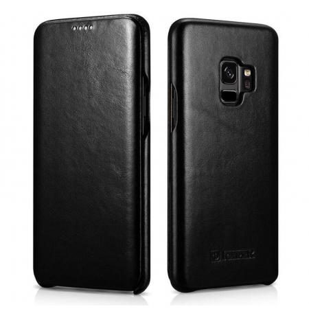 ICARER Curved Edge Vintage Genuine Leather Flip Case For Samsung Galaxy S9 - Black