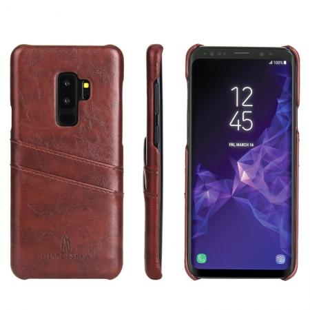 2 Credit Card Slots Luxury Oil Wax Pattern PU Leather Case for Samsung Galaxy S9+ - Brown