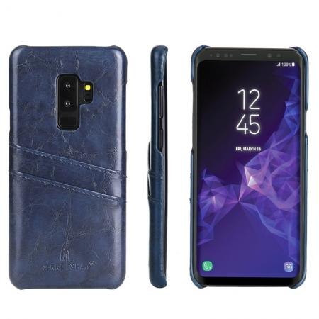 2 Credit Card Slots Luxury Oil Wax Pattern PU Leather Case for Samsung Galaxy S9+ - Dark Blue