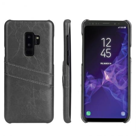 2 Credit Card Slots Luxury Oil Wax Pattern PU Leather Case for Samsung Galaxy S9+ - Grey