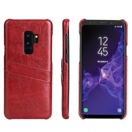 2 Credit Card Slots Luxury Oil Wax Pattern PU Leather Case for Samsung Galaxy S9+ - Red