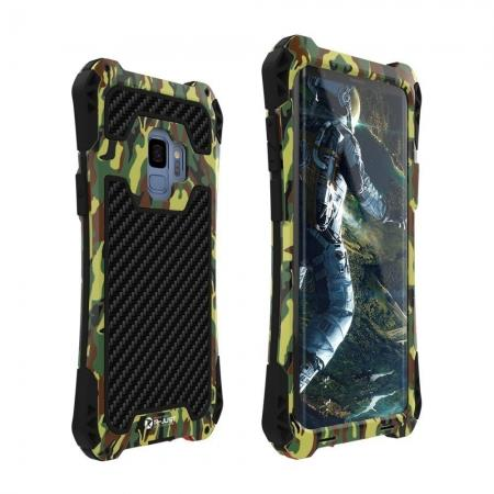 Aluminum Metal Bumper Silicone TPU Rugged Hard Shockproof Carbon Fiber Case for Samsung Galaxy S9 - Army Green