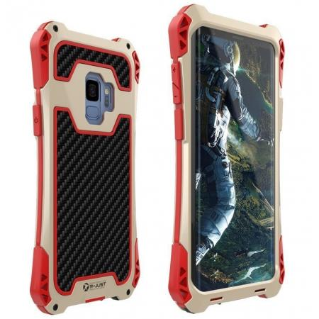 Aluminum Metal Bumper Silicone TPU Rugged Hard Shockproof Carbon Fiber Case for Samsung Galaxy S9 - Gold/Red