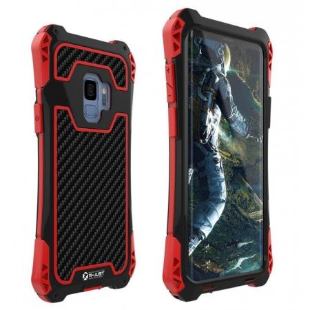Aluminum Metal Bumper Silicone TPU Rugged Hard Shockproof Carbon Fiber Case for Samsung Galaxy S9 - Red
