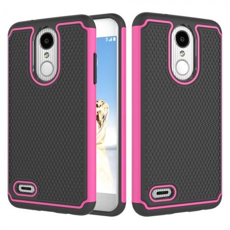 Full Body Hybrid Dual Layer ShockProof Protective Case For LG Tribute Dynasty / Aristo 2 - Hot pink