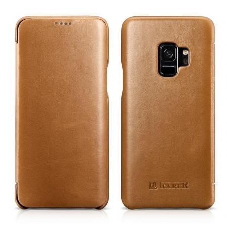 ICARER Curved Edge Genuine Leather Flip Case For Samsung Galaxy S9+ Plus - Khaki