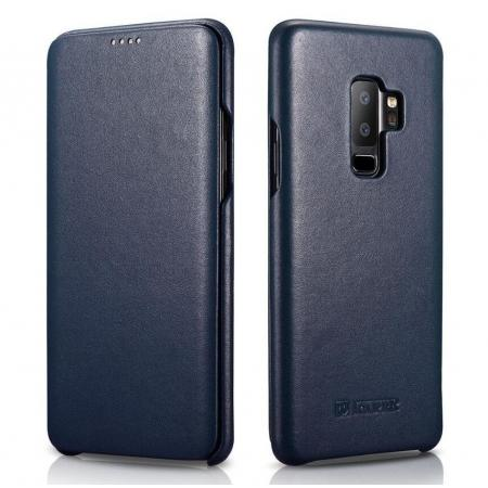 ICARER Luxury Series Genuine Leather Side-Open Folio Flip Case Cover for Samsung Galaxy S9 - Dark Blue