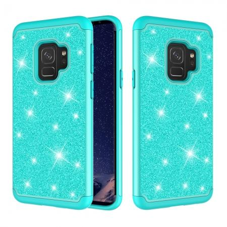 Luxury Glitter Bling Hybrid Shockproof Protective Case for Samsung Galaxy S9 - Teal