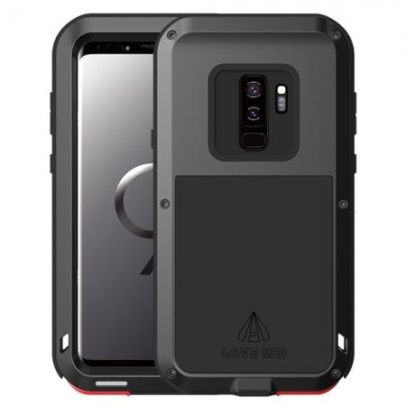 Shockproof Silicone Aluminum Metal Armor Heavy Duty Cover Case for Samsung Galaxy S9 - Black