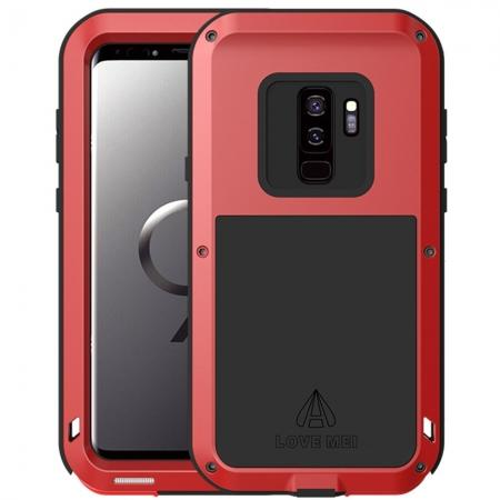 Shockproof Silicone Aluminum Metal Armor Heavy Duty Cover Case for Samsung Galaxy S9 - Red
