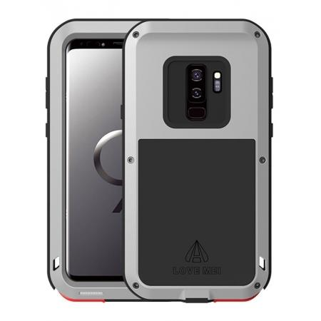 Shockproof Silicone Aluminum Metal Armor Heavy Duty Cover Case for Samsung Galaxy S9 - Silver