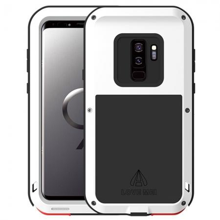 Shockproof Silicone Aluminum Metal Armor Heavy Duty Cover Case for Samsung Galaxy S9 - White