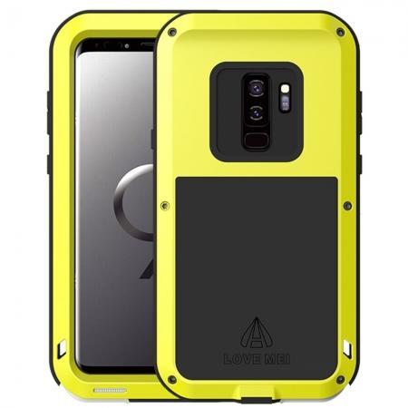 Shockproof Silicone Aluminum Metal Armor Heavy Duty Cover Case for Samsung Galaxy S9 - Yellow