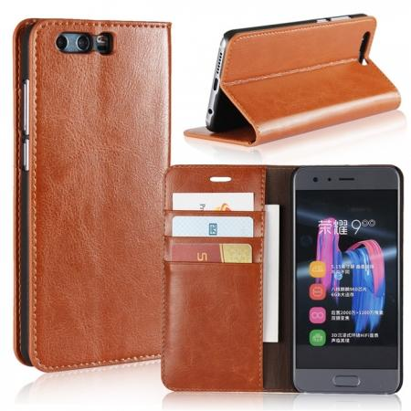 Crazy Horse Genuine Leather Case Flip Stand Card Slot for Huawei Honor 9 - Brown