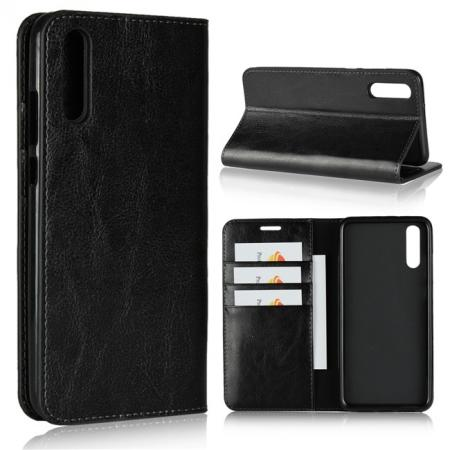 Crazy Horse Genuine Leather Case Flip Stand Card Slot  for Huawei P20 - Black