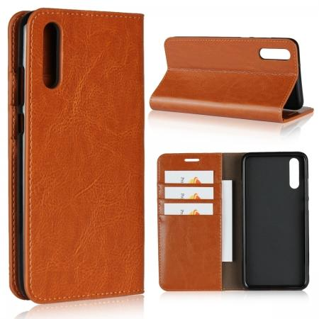 Crazy Horse Genuine Leather Case Flip Stand Card Slot  for Huawei P20 - Brown