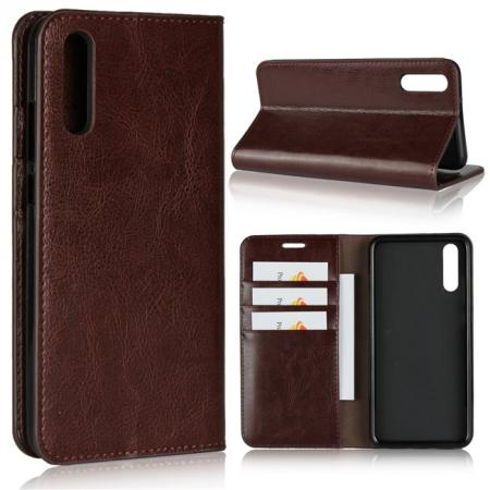 Crazy Horse Genuine Leather Case Flip Stand Card Slot  for Huawei P20 - Coffee