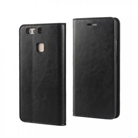 Crazy Horse Genuine Leather Case Flip Stand Card Slot for HUAWEI P9 Plus - Black