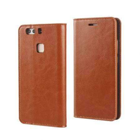 Crazy Horse Genuine Leather Case Flip Stand Card Slot for HUAWEI P9 Plus - Brown