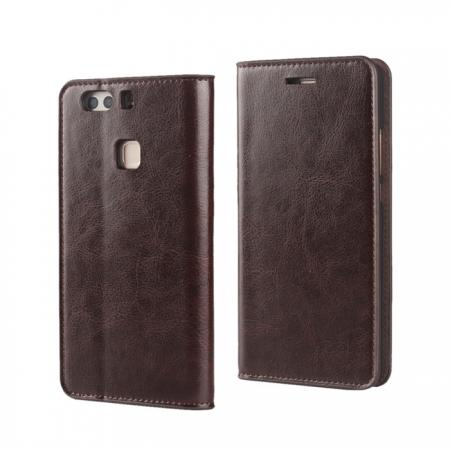 Crazy Horse Genuine Leather Case Flip Stand Card Slot for HUAWEI P9 Plus - Coffee