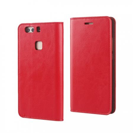Crazy Horse Genuine Leather Case Flip Stand Card Slot for HUAWEI P9 Plus - Red