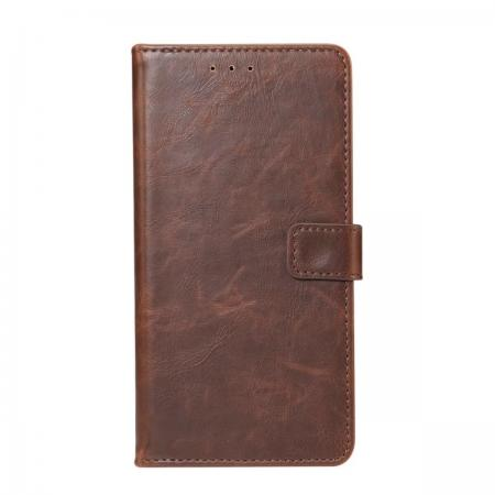 Crazy Horse Leather Flip Case Wallet With Card Holder for Huawei P20 - Dark Brown