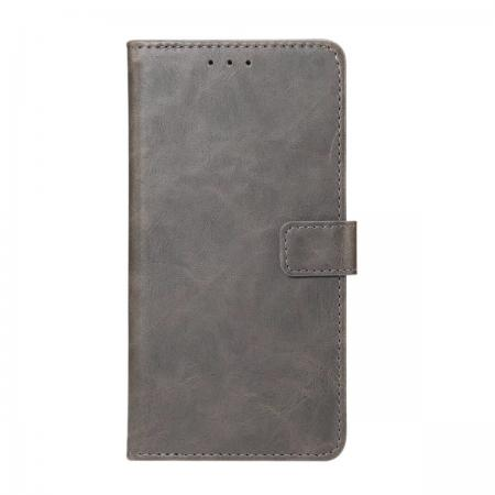 Crazy Horse Leather Flip Case Wallet With Card Holder for Huawei P20 - Grey