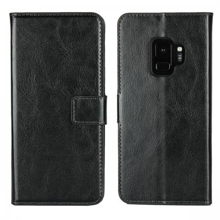 Crazy Horse Magnetic PU Leather Flip Case Inner TPU Cover for Samsung Galaxy S9 - Black