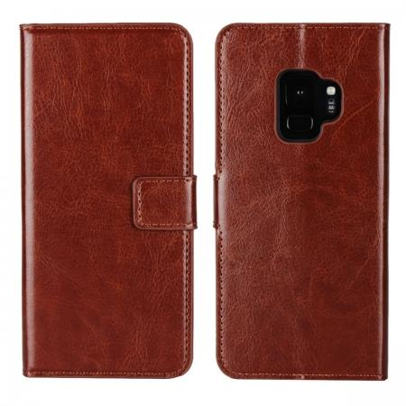 Crazy Horse Magnetic PU Leather Flip Case Inner TPU Cover for Samsung Galaxy S9 - Brown