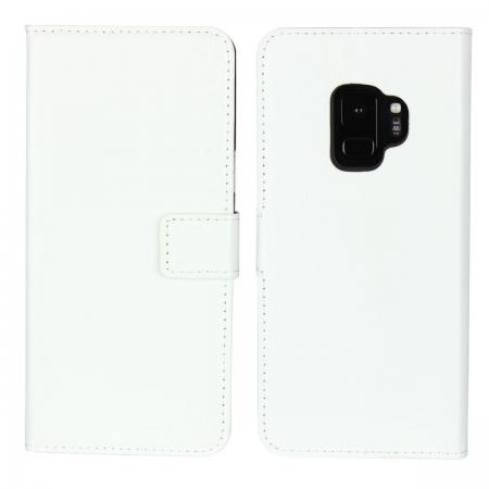 Crazy Horse Magnetic PU Leather Flip Case Inner TPU Cover for Samsung Galaxy S9 - White