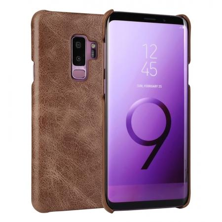Genuine Leather Matte Back Hard Case Cover for Samsung Galaxy S9 - Dark Brown
