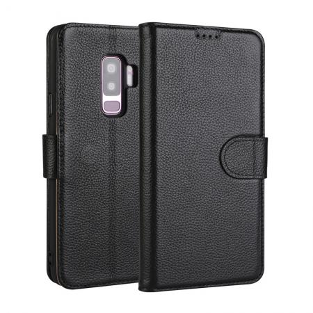 Genuine Leather Wallet Flip Case Stand Credit Card for Samsung Galaxy S9 - Black