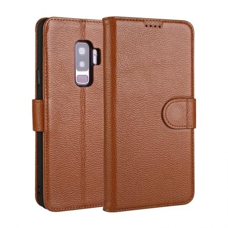 Genuine Leather Wallet Flip Case Stand Credit Card for Samsung Galaxy S9 - Brown