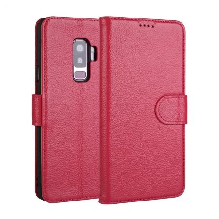 Genuine Leather Wallet Flip Case Stand Credit Card for Samsung Galaxy S9+ Plus - Rose Red