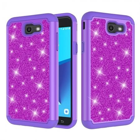 Glitter Bling Girls Wome Design Hybrid Dual Layer Protective Case For Samsung Galaxy J7 (2017) / J7 V - Purple