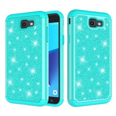 Glitter Bling Girls Wome Design Hybrid Dual Layer Protective Case For Samsung Galaxy J7 (2017) / J7 V - Teal
