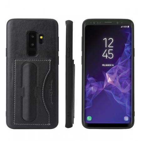 Leather Slim Back Cover with Credit Card Slot for Samsung Galaxy S9+ Plus - Black