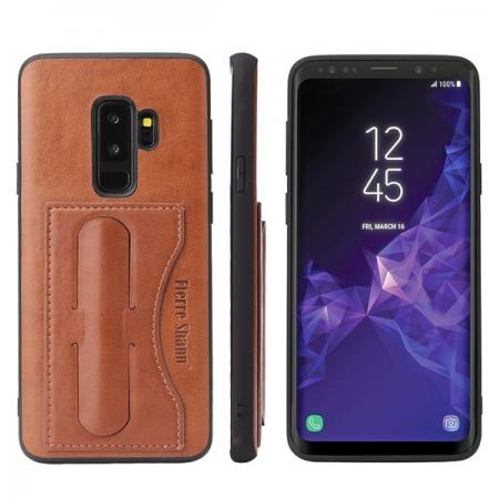 Leather Slim Back Cover with Credit Card Slot for Samsung Galaxy S9+ Plus - Brown