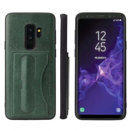 Leather Slim Back Cover with Credit Card Slot for Samsung Galaxy S9+ Plus - Green
