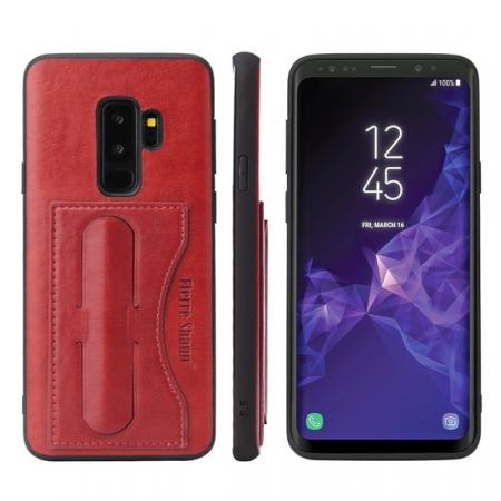 Leather Slim Back Cover with Credit Card Slot for Samsung Galaxy S9+ Plus - Red