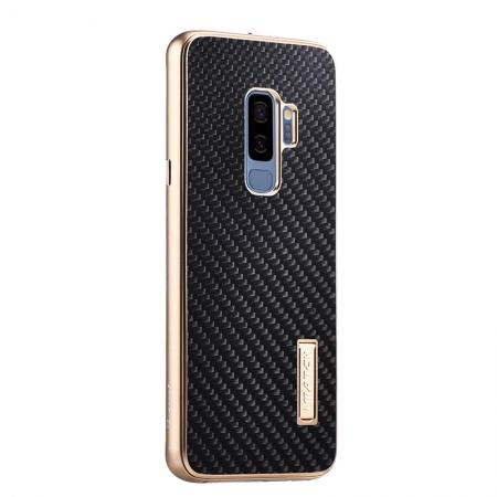 Aluminium Bumper Carbon Fiber Back Case For Samsung Galaxy S9 - Gold&Black