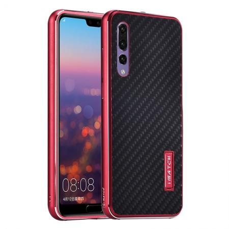 Aluminium Bumper + Carbon Fiber Cover With Stand Case For  HuaWei P20 - Red&Black