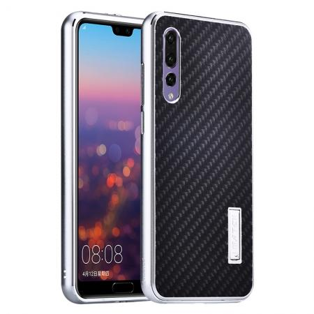 Aluminium Bumper + Carbon Fiber Cover With Stand Case For  HuaWei P20 - Silver&Black