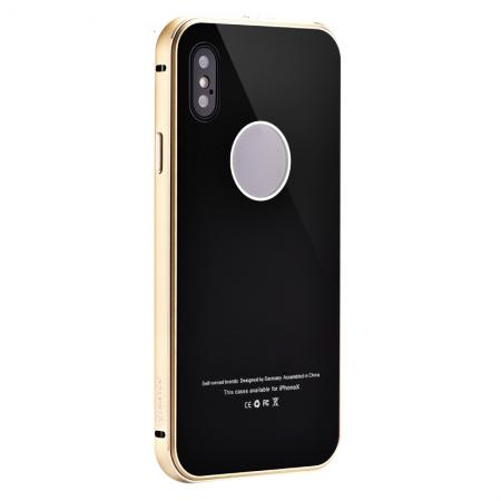 Aluminum Metal Bumper with Tempered glass Cover Case for iPhone XS / X - Gold&Black