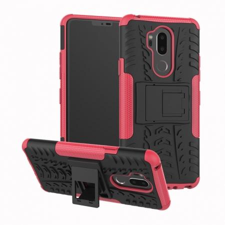 Case For LG G7 ThinQ Rugged Armor Shockproof Hybrid Kickstand Phone Cover - Hot pink